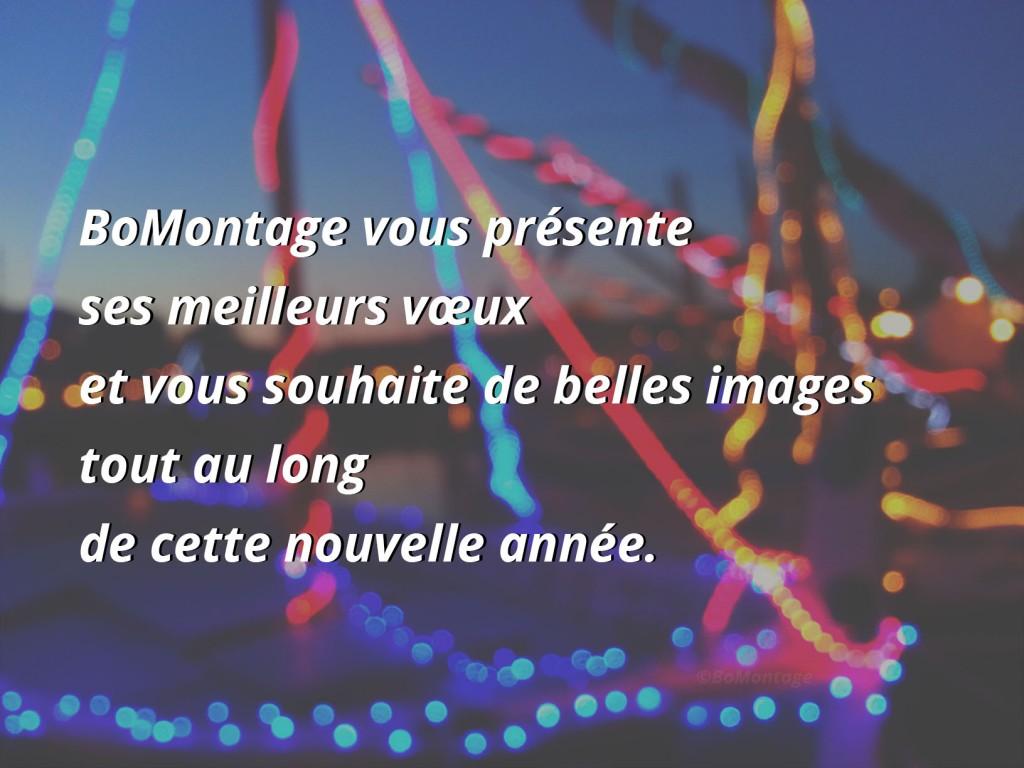 BoMontage vous présente ses meilleurs vœux et vous souhaite de belles images pour cette nouvelle année.