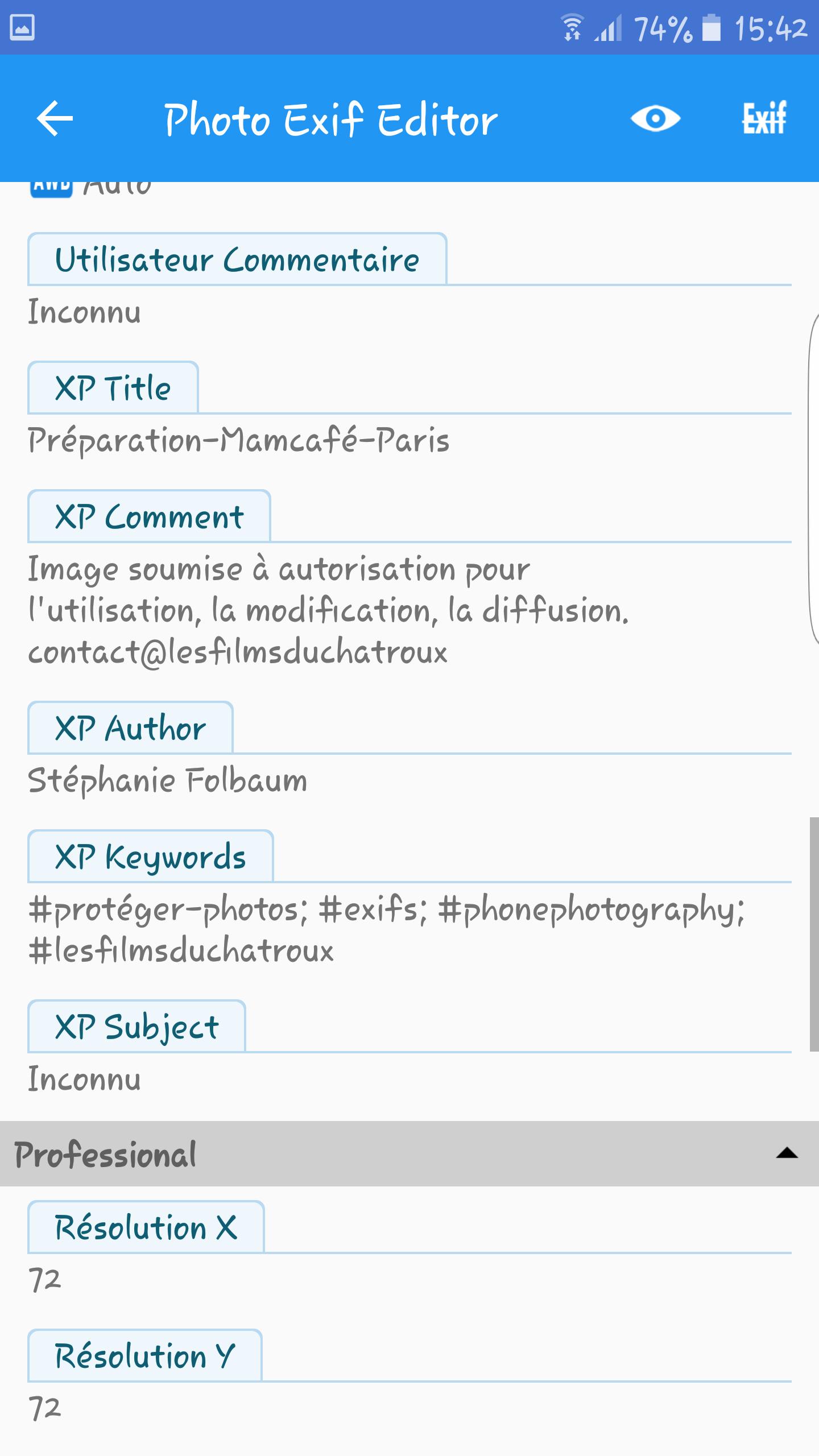 Afin de mieux protéger ses photos sur internet, utiliser les données EXIF avec une appli pour mobile.